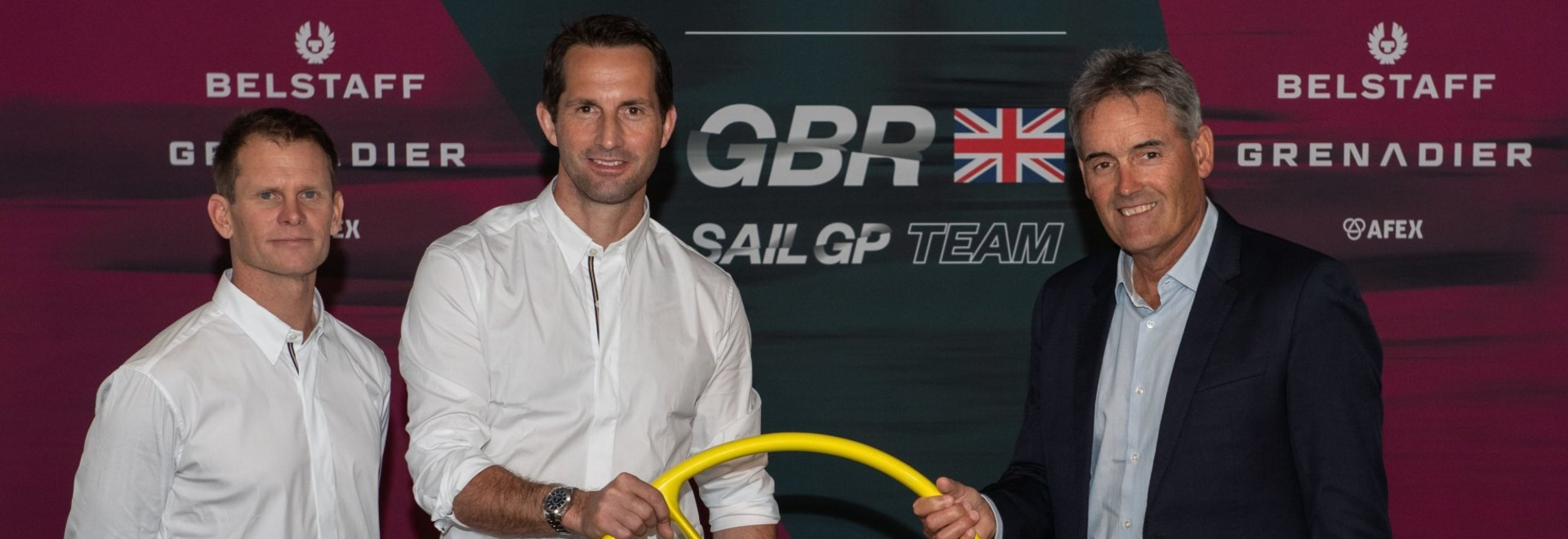 Chris Draper, Ben Ainslie and Russell Coutts (L to R) at the announcement event in London.