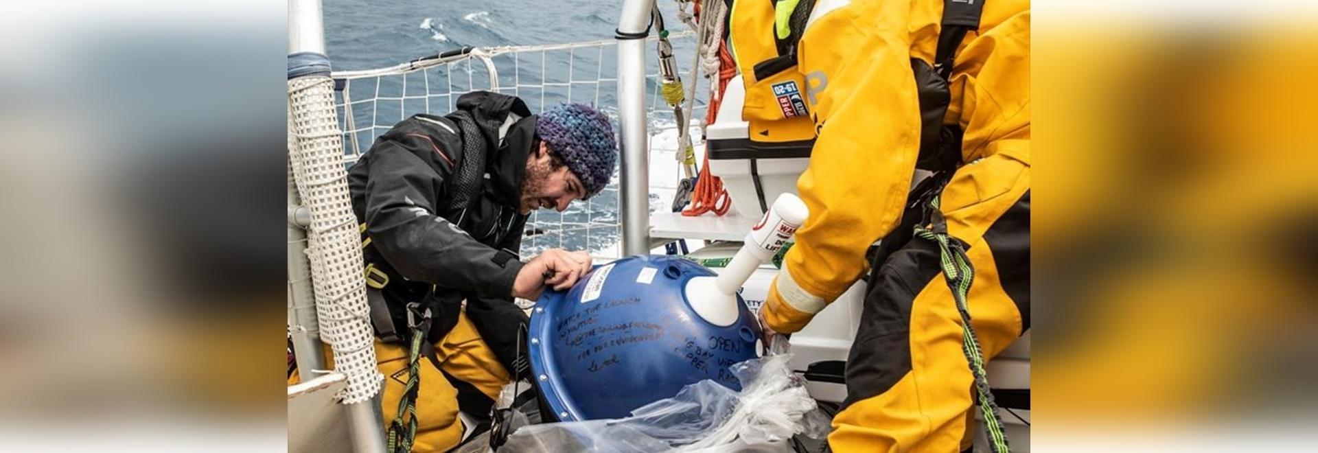 The crew of Clipper Race vessel CV26, Ha Long Bay Viet Nam, deploys the data-transmitting drifter buoy