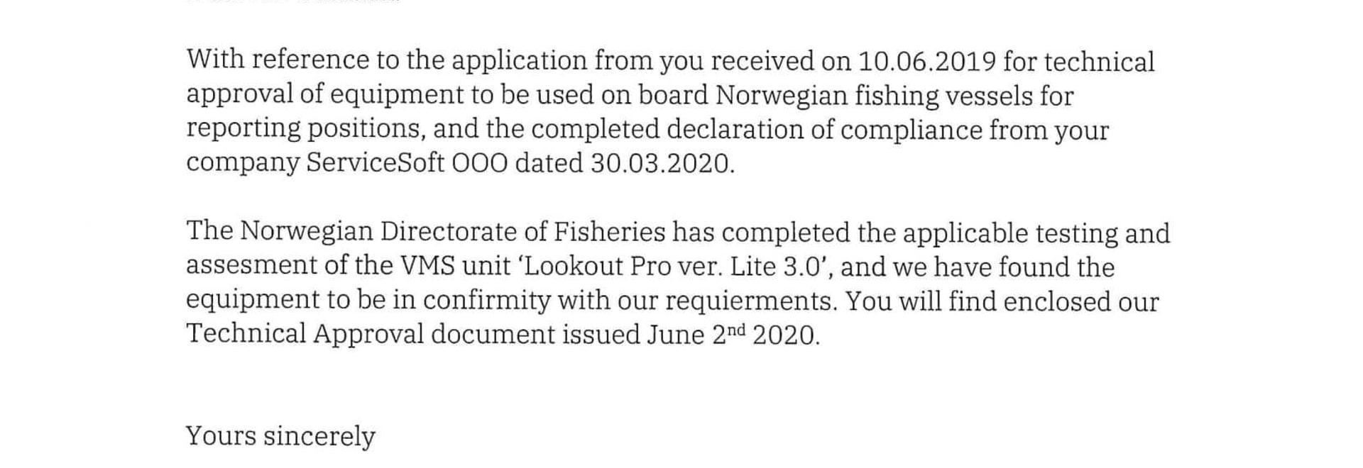 Fiskeri Direktoratet approval list