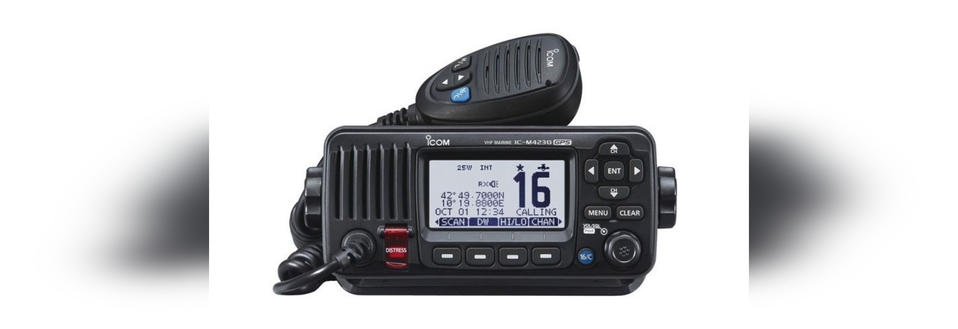Icom's IC-M423GE and the IC-M400BBE feature an integrated GPS and an external GPS