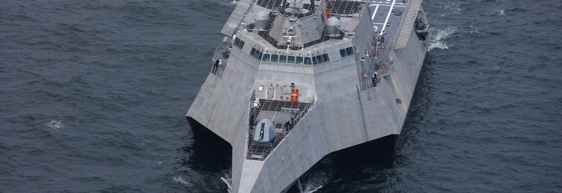"The Independence-variant littoral combat ship is a 421'6""x103.7' high-speed, agile, shallow draft, focused-mission surface combatant. Austal USA photo"