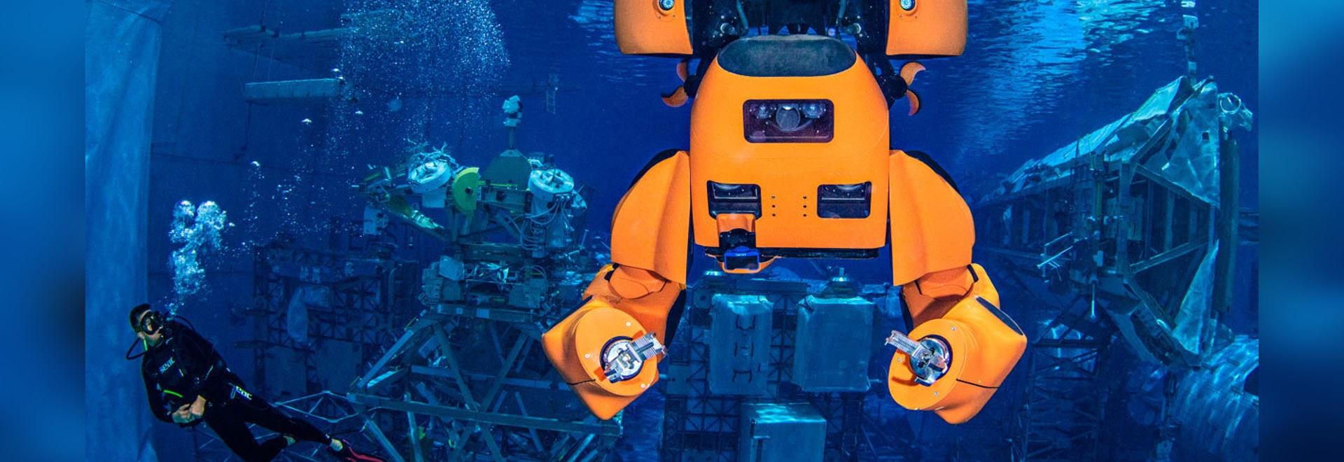 Into the Blue: The robot Aquanaut floats underwater during a test at NASA's Neutral Buoyancy Laboratory.