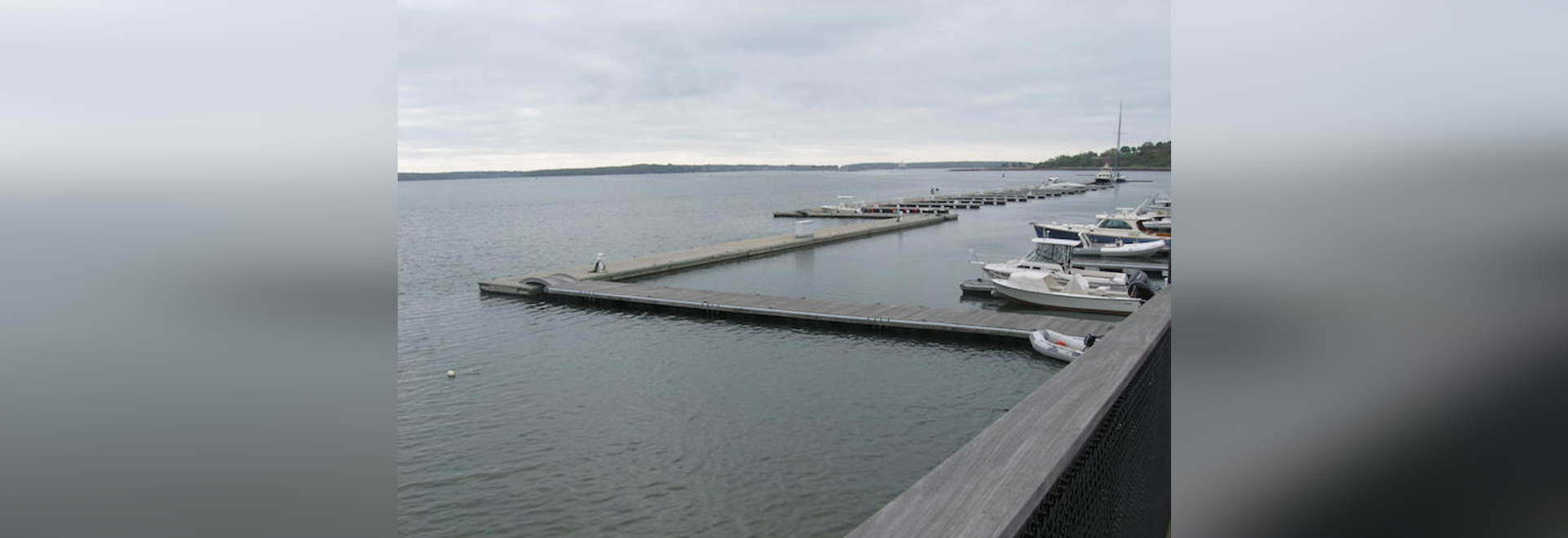 Maine Yacht Center's floating concrete breakwater protects against northeast storms that destroyed a previous structure.
