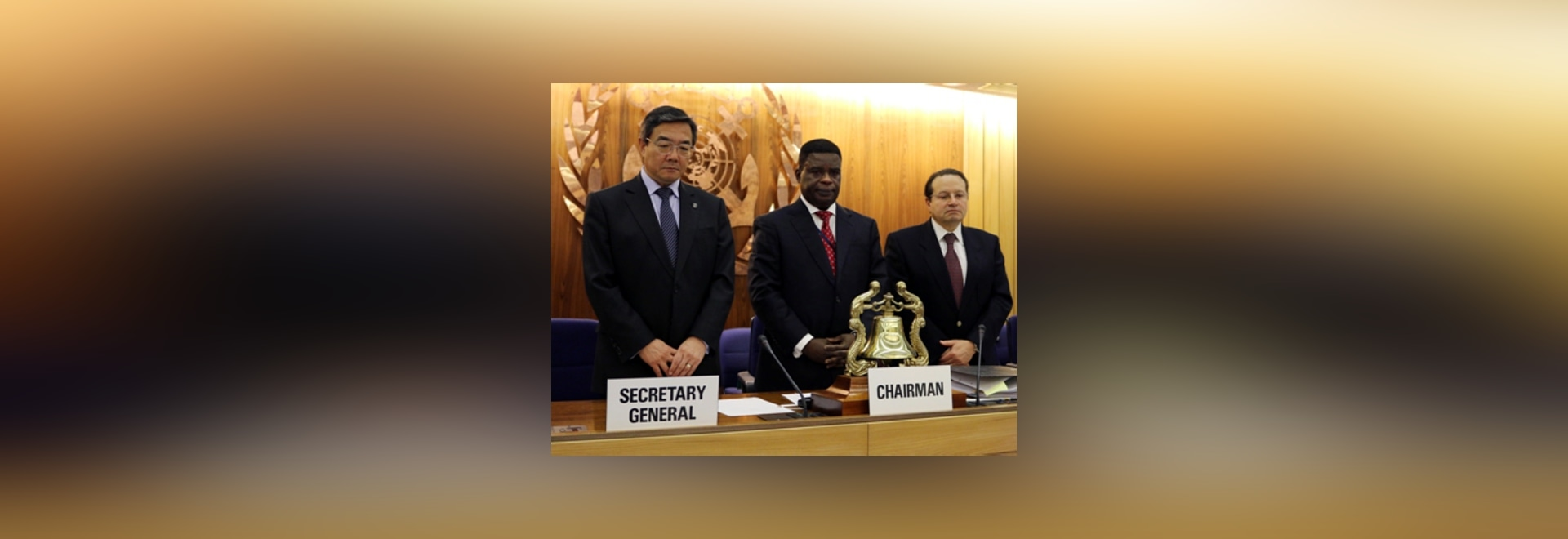 Observing silence for Sewol victims. Left to right: Mr. Koji Sekimizu, Secretary-General, IMO; Mr. Kofi Mbiah (Ghana), Chairman, Legal Committee; Mr. Gaetano Librando, Secretary of Legal Committee ...