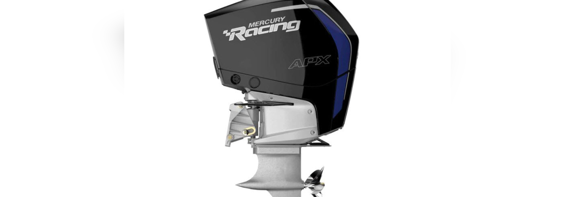 A specialized gearcase and midsection help make this a racing competition outboard.