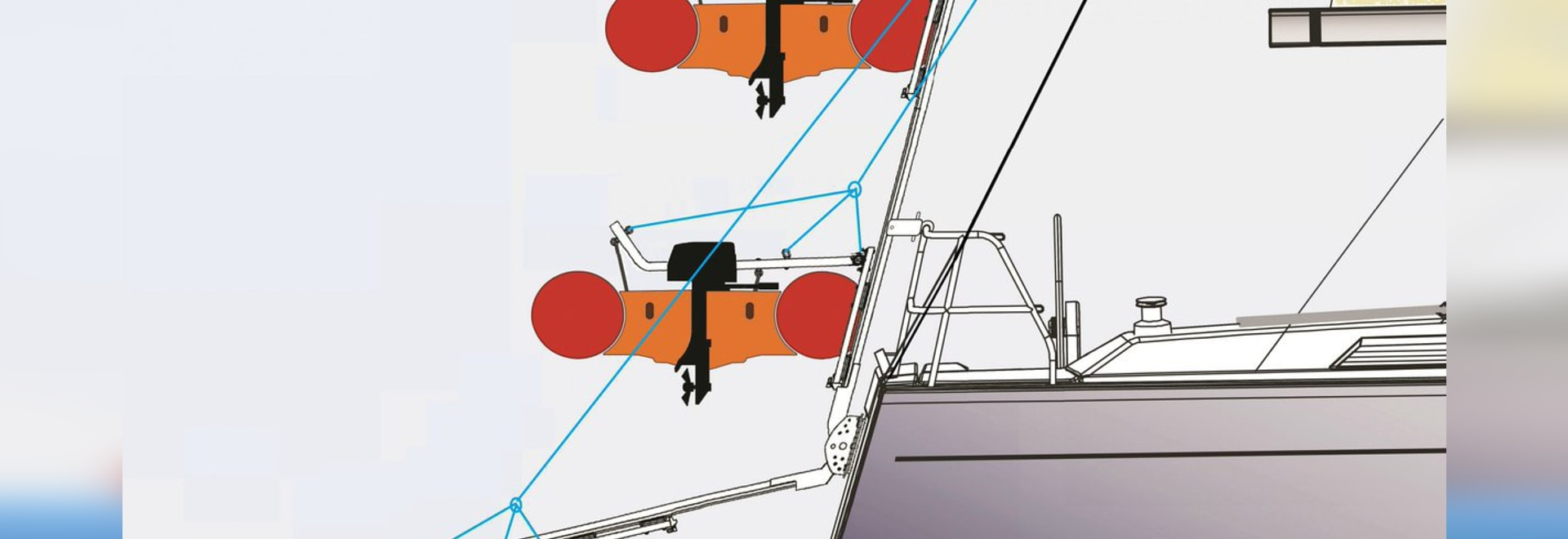 The three operating positions of Ark Marine's Dinghy Derrick