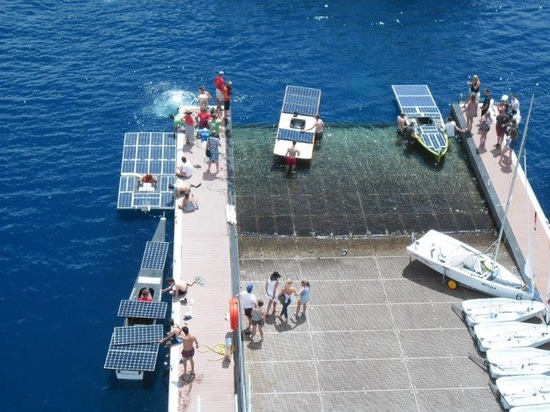 the solar boats comepting in the Solar 1 Monte Carlo Cup