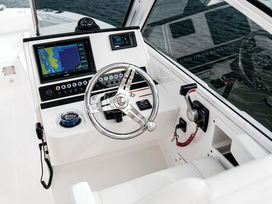 The helm offers room for a factory-rigged Garmin chart plotter.Courtesy EdgeWater Boats