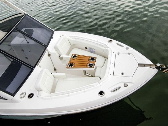 The bow table makes entertaining easy.Courtesy EdgeWater Boats