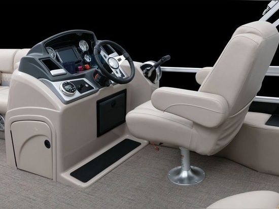 The luxury bucket seat is ideally positioned for comfortable driving.Courtesy Ranger Boats