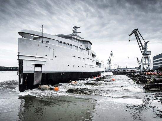 The yacht will now undergo outfitting in the Netherlands