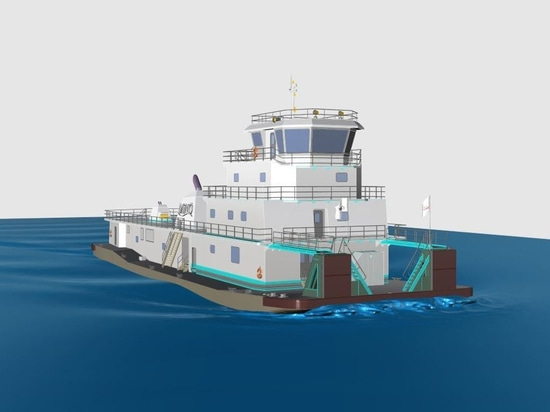 Construction of a new 6,000-hp towboat will take place at Conrad in Amelia, La. MINO Marine rendering