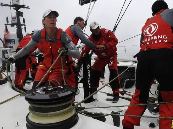 Carolijn Brouwer (center) and the DongFeng Race Team won the 2017-2018 Volvo Ocean Race.