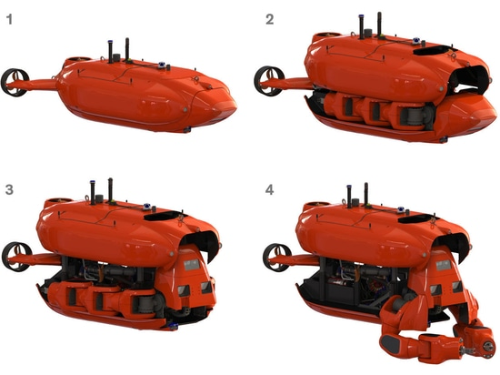 Aquanaut travels in streamlined submarine mode to a subsea work site. Once the robot arrives at the site, the top part of its hull rises up, exposing two massive arms and a wedge-shaped head. The h...
