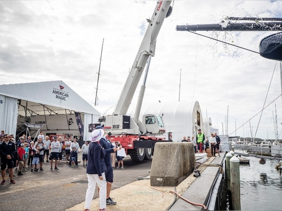 Patricia Hutchinson, mother of Skipper and Executive Director Terry Hutchinson, christens the AC75 with G.H. Mumm champagne, the Official Champagne Partner of the 36th America´s Cup. © American Mag...