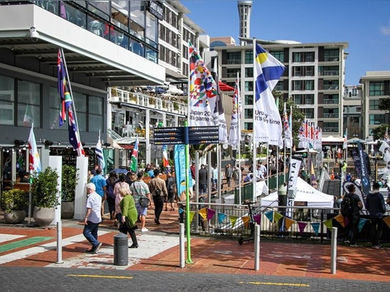 Eastern Viaduct Entrance to the marina, in front of the Viaduct Harbour watering holes - Auckland On the Water Boat Show - Final day - October 6, 2019 © Richard Gladwell