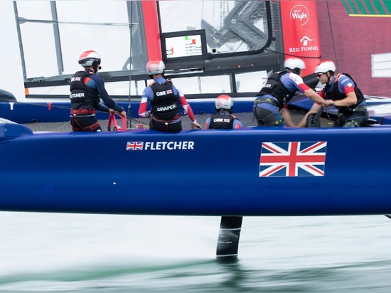 Great Britain SailGP Team full flight at its home event in Cowes, Isle of Wight.