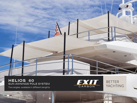 Helios 60, the carbon sun awning poles designed for medium – large boats