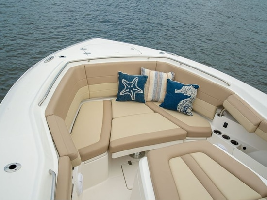 An expansive forward area for bow fishing converts to lounges.