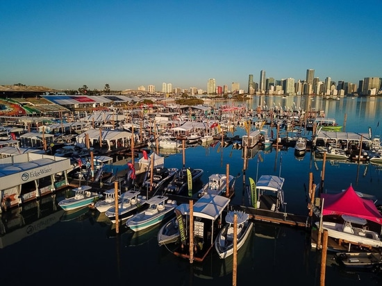 The Miami skyline provides the perfect backdrop for a weekend of checking out new boats and gear at the annual Miami International Boat Show.Courtesy of the Miami Boat Show