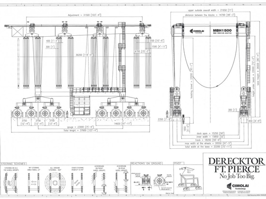 General drawing of the 1,500-ton mobile boat hoist being built by Cimolai Technology for Derecktor Ft. Pierce