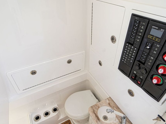Inside the console is stand-up headroom for using the Dometic MSD.