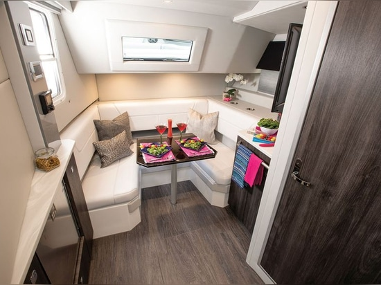 The cabin offers a settee that converts to a V-berth.