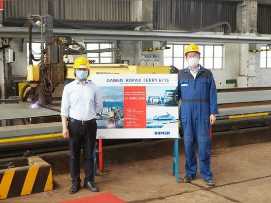 DAMEN HOSTS DIGITAL STEEL-CUTTING CEREMONY FOR ROPAX VESSEL