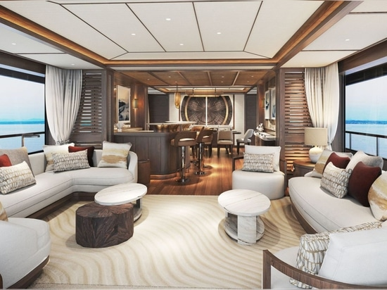 The interior design of the in-build 36 metre Project Mana