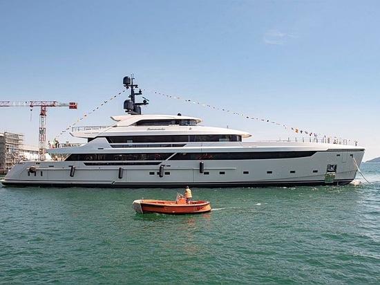 Sanlorenzo launches first 62Steel yacht Lammouche in La Spezia