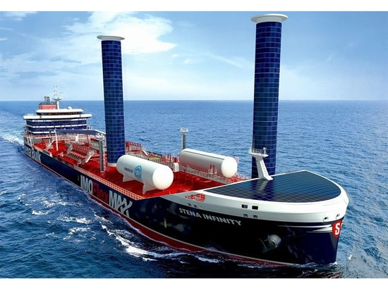 LNG dual fueled vessel is fittedwith Flettner rotors and solar panels