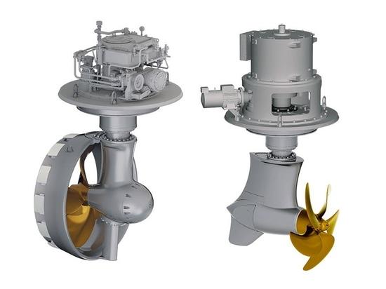 M-Series includes both Schottel Rudderpropeller (left) Schottel EcoPeller (right) modules.