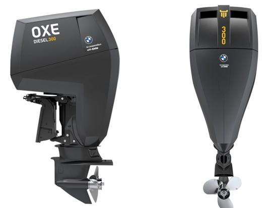 The co-branded 300-hp diesel outboard.