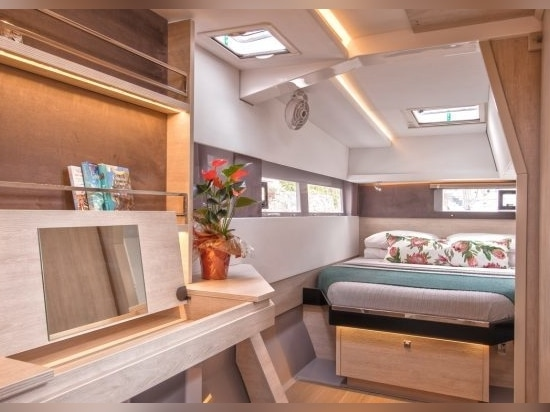 Three or four generous double cabins are available