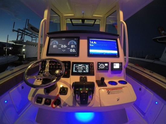 The helm is outfitted with a plethora of modern electronics.