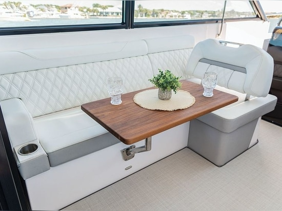 A portside lounge featured backrests, one forward and one aft.