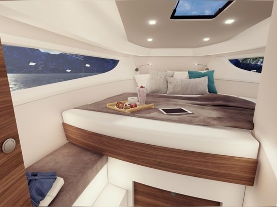 The forward cabin benefits from unusually large hull windows