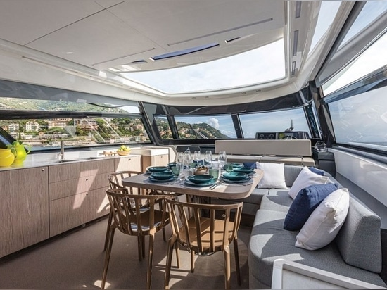The galley, dining area and helm are on the upper deck
