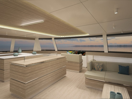 The yacht is available with a skylounge on the top deck or a huge 90 square metre fly deck.