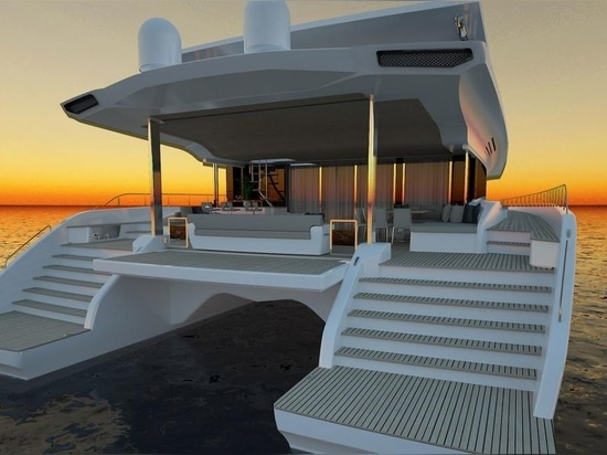 The yacht will be entirely solar powered, enabling an unlimited cruising range and noise and fume free navigation