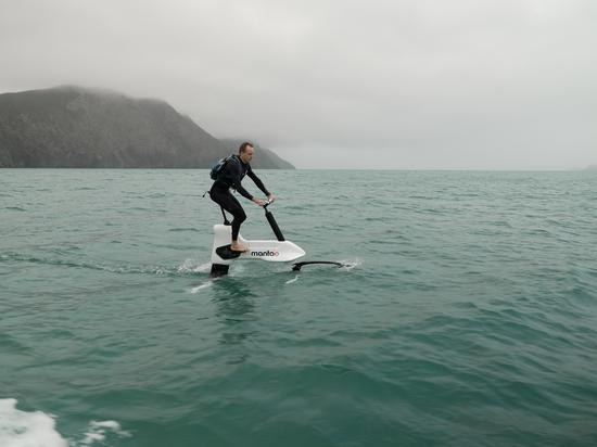 Hydrofoil Bike Navigates 24km Open Water Cook Strait Crossing, New Zealand