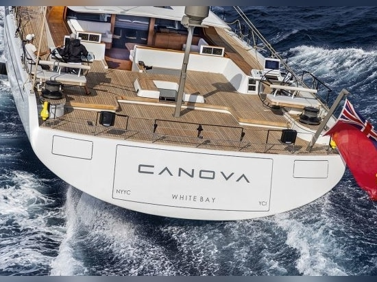 Helm stations and sailing systems are concentrated around Canova's raised andbeamy aft deck.