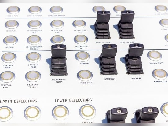 Myriad push-button controls, including for two sets of deflectors, helps allow short-handed control of a powerful yacht.