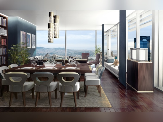 A render of a dining room inside the Ciftci Tower residential complex