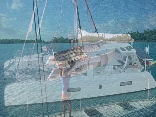 MiniCat 310 Sport sailing in French Polynesia