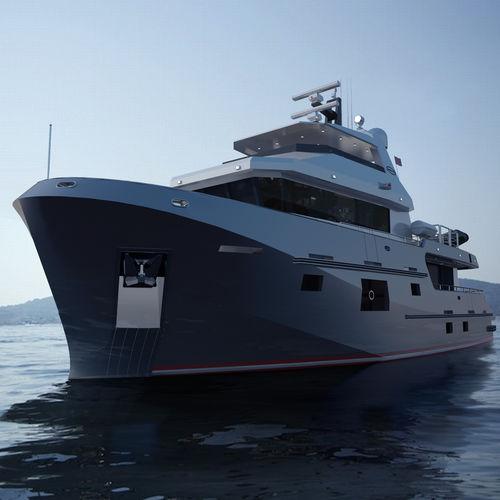 探検モーターヨット / フライブリッジ / スチール製 / 移動用船艇
