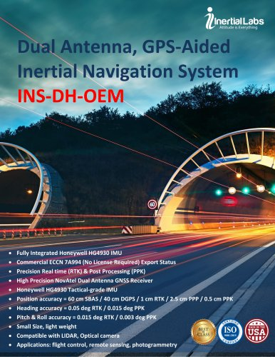 INS-DH-OEM — Dual Antenna, GPS-Aided Inertial Navigation System with Honeywell HG4930 IMU