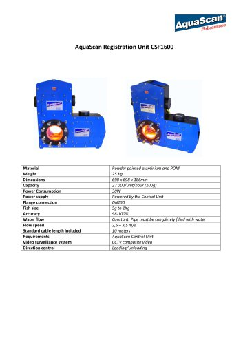 AquaScan Registration Unit CSF1600