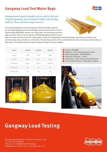 Gangway Load Test Water Weight Bags
