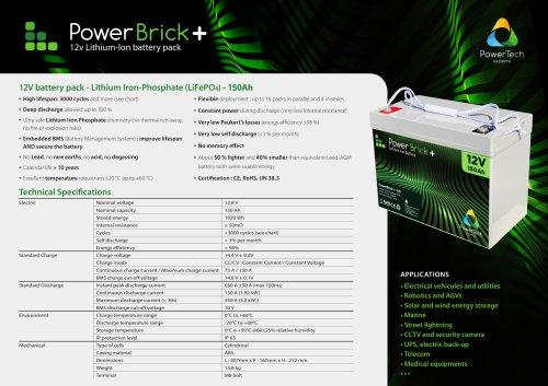 12V battery pack - Lithium Iron-Phosphate (LiFePO4) - 150Ah